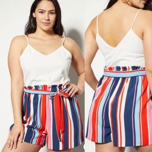 White and striped Shorts Romper, Size 2X